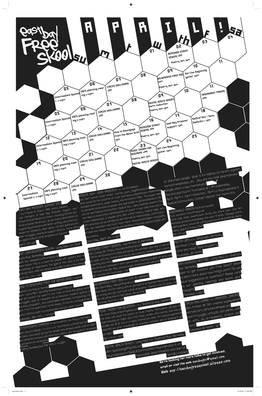 East Bay Free School Class list poster Front page