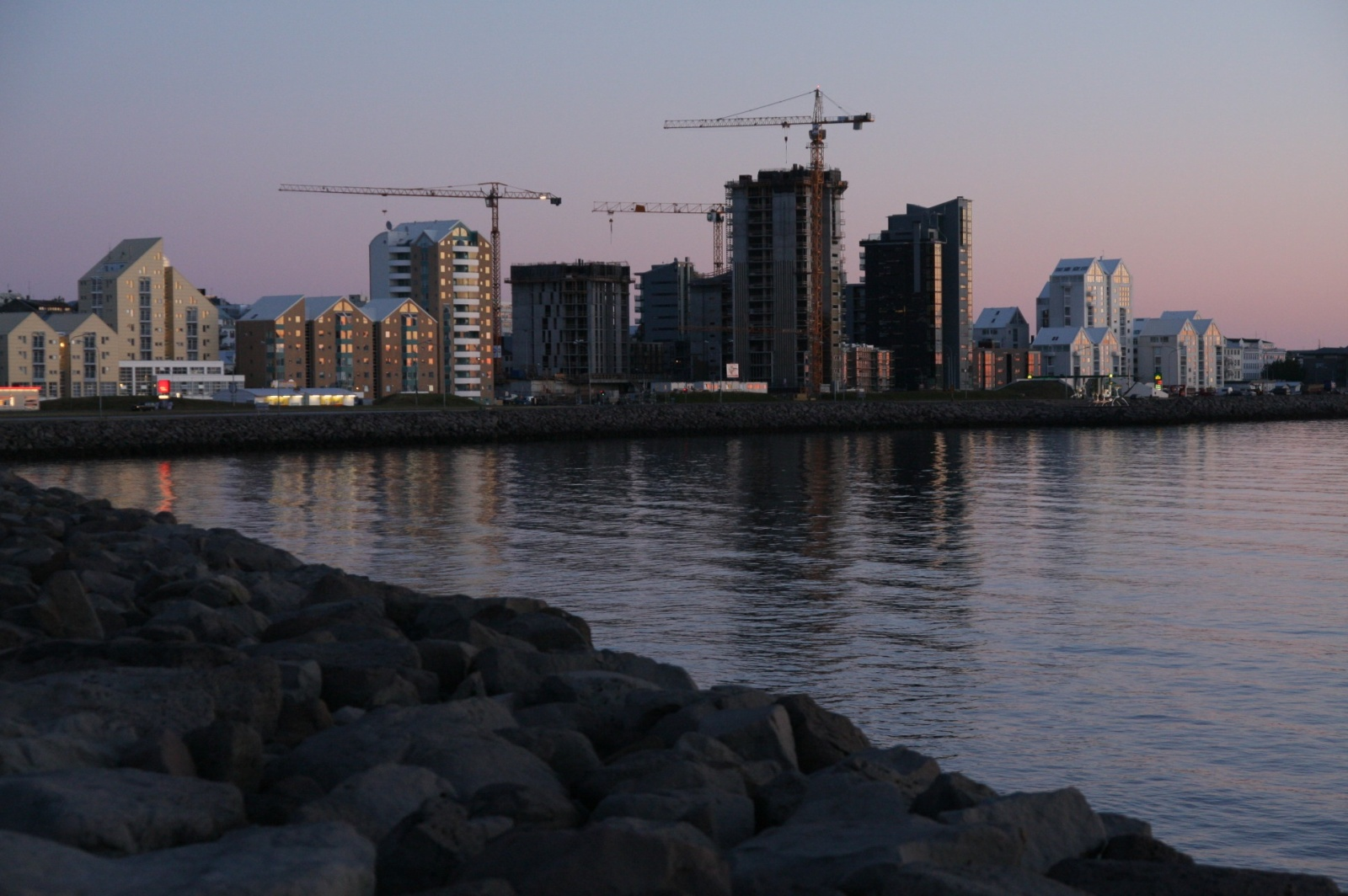 New construction in Reykjavik during the night