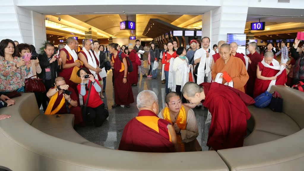 Lama Zopa Rinpoche before boarding flight to United States, Taipei, Taiwan, April 2014. Photo by Ven. Thubten Kunsang.