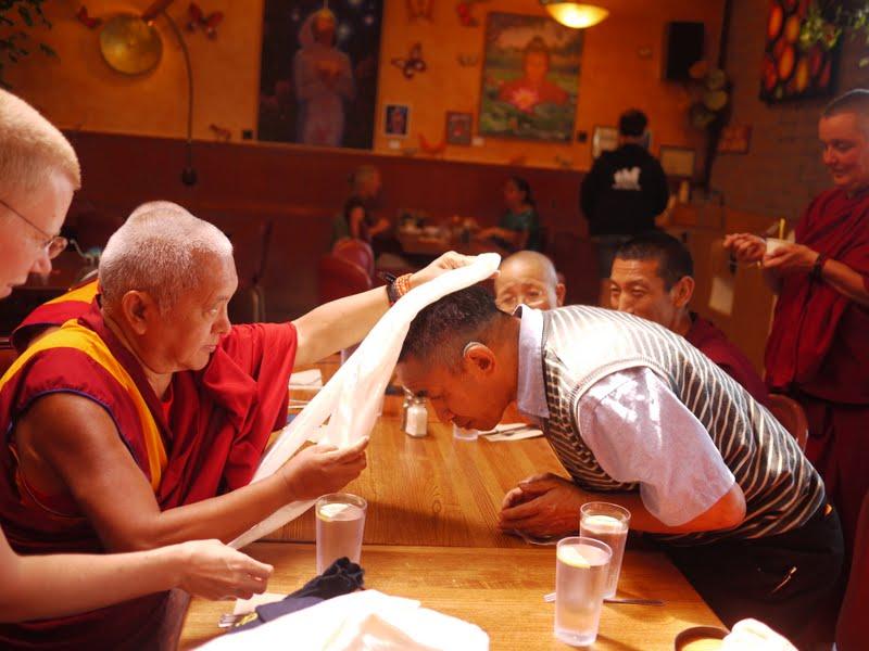 Rinpoche offering kata to Gelek