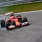 Kimi Raikkonen smoking his Ferrari F14T