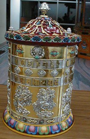 A prayer wheel of Lama Zopa Rinpoche's.