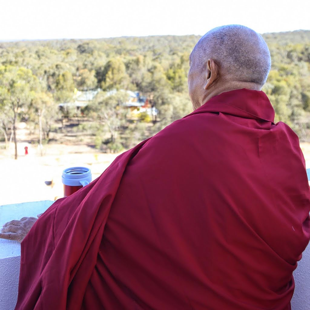Lama Zopa Rinpoche looking towards Atisha Centre from the Great Stupa of Universal Compassion, Australia, September 2014. Photo by Ven. Thubten Kunsang.