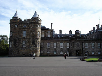 The Palace of Holyroodhouse from behind the gates