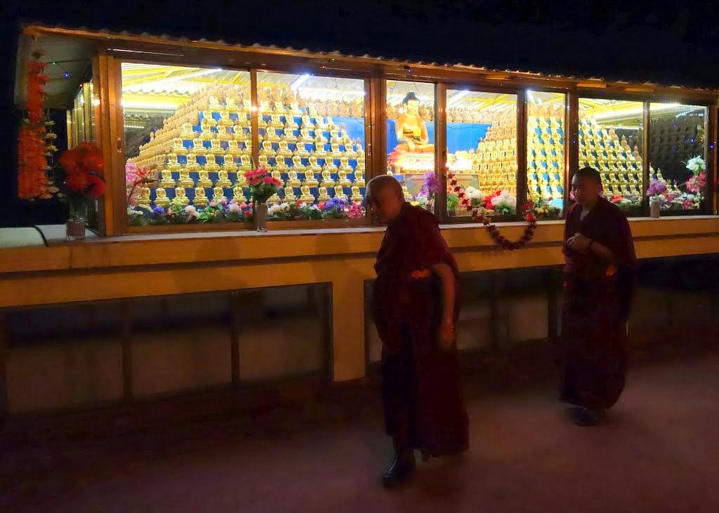Lama Zopa Rinpoche circumambulating the 1,000 buddhas at night, Kopan Monastery, Nepal, December 2, 2013. Photo by Ven. Roger Kunsang.