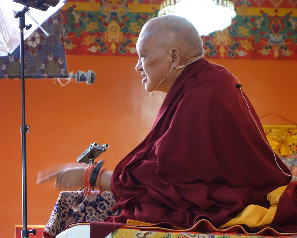 Lama Zopa Rinpoche taught November 29-December 7 at Kopan Monastery during month-long lam-rim program known as the November Course, Nepal, November 2014. Photo by Ven. Roger Kunsang.