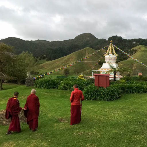 Lama Zopa Rinpoche at stupa at Mahamudra Centre, New Zealand, May 2015. Photo by Ven. Thubten Kunsang.