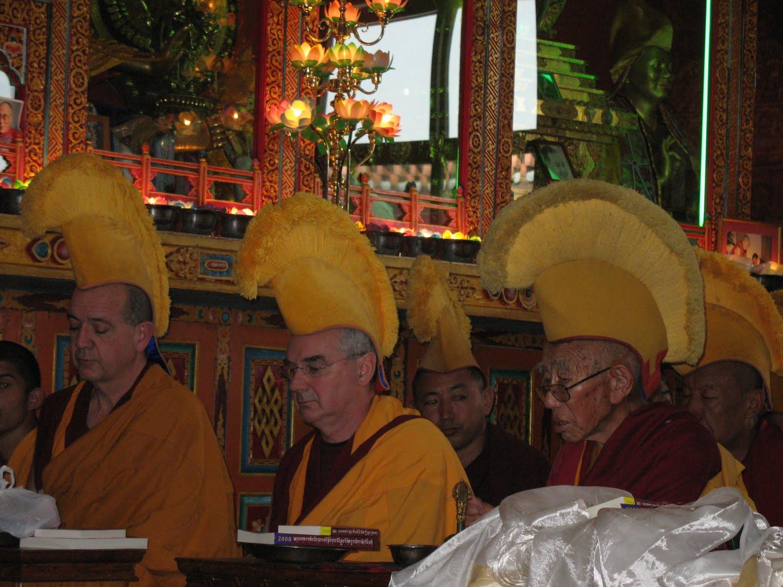 Ven.Roger Kunsang, Ven.Dondrub and senior monks during long life puja at Kopan Monastery, December, 2008