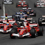 Whole F1 pack going into 1st corner