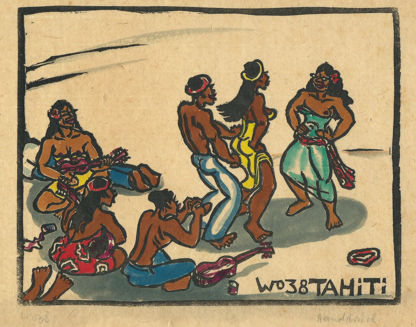 Tahitian musicians and dancers, hand colored block print, 1938, family-owned