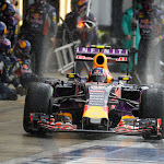 Daniel Riccardo, Red Bull RB11 driving out the pit with intermediate tyres