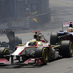 First corner incident Monaco with Romain Grosjean