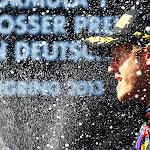 Sebastian Vettel on the podium for Red Bull