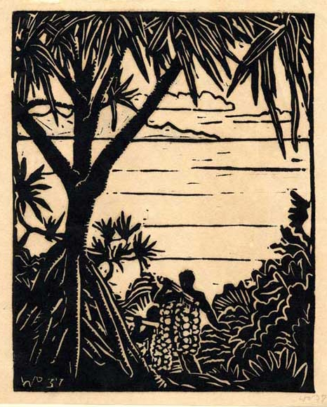 Return from the jungle, linocut, 1937, ca. 7 x 6 inches