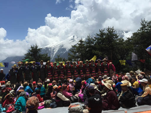 A dance group from Thame, Rinpoche's birthplace, during Amitabha long life initiation, Lawudo Retreat Centre, Nepal, April 2015. Photo by Ven. Roger Kunsang.