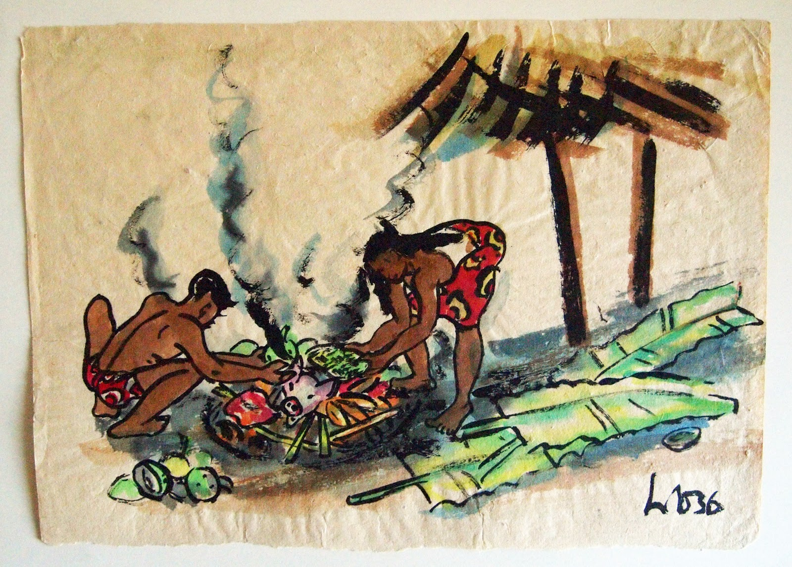 Preparing the Imu, watercolor, 1936, family-owned