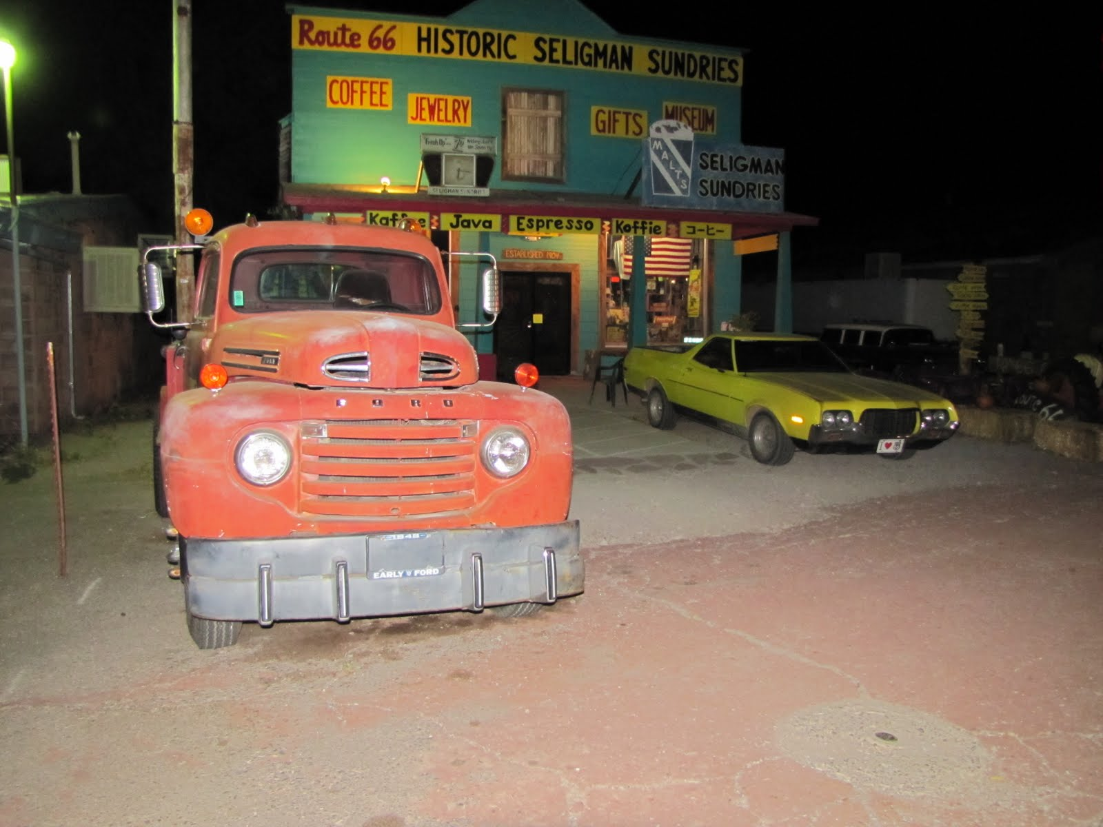 Route 66, Arizona, 1948 Ford F6 Tow Truck, 1972 Ford Ranchero