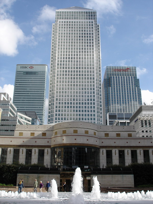 Eastern London has the financial district of Canary Wharf