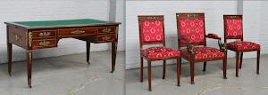 Письменный стол, кресло и два стула. Ампир ок.1850 г. Красное дерево, бронза, сукно. 5000 евро.