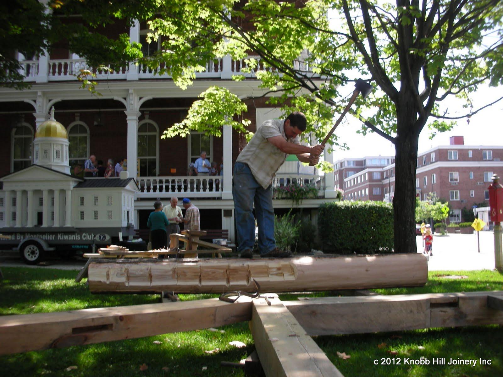 Seth juggles a red oak log at the Washington County History Fair.
