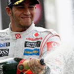 Lewis Hamilton on podium for McLaren