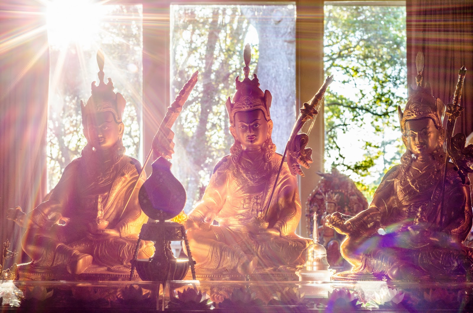 Padmasambhava statues at Kachoe Dechen Ling. Photo by Chris Majors.