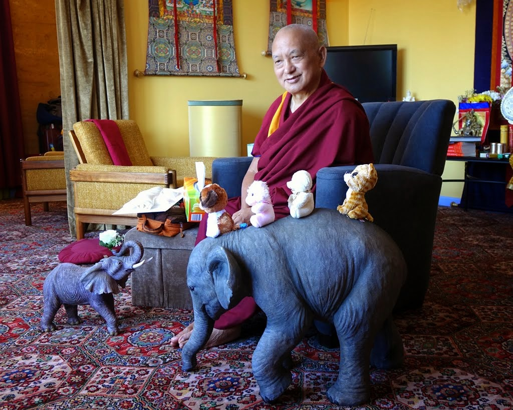 Lama Zopa Rinpoche with his animal art, Thubten Shedrup Ling, Australia, October 2014. Photo by Ven. Roger Kunsang.