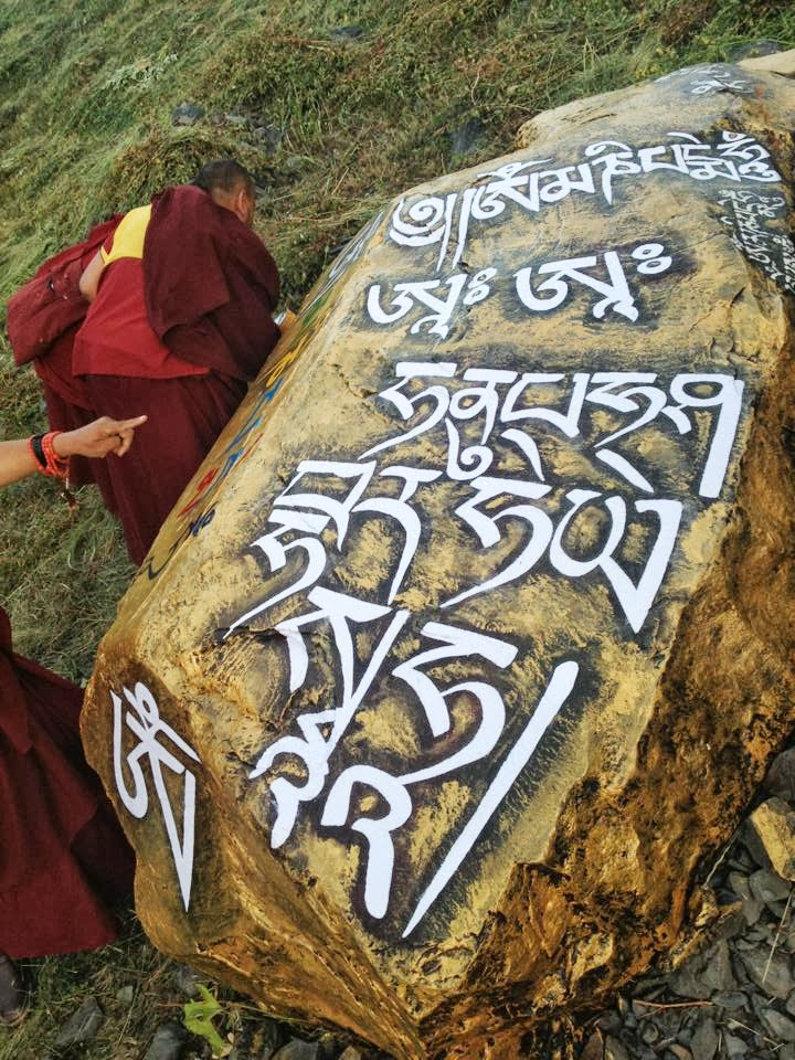 Mantras Rinpoche wrote on rock, July 2013, Manali, India. Photo: Ven. Sangpo Sherpa.