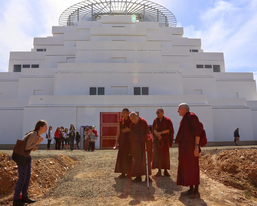 Lama Zopa Rinpoche and Khen Rinpoche Geshe Chonyi with Vens. Roger Kunsang and Sangpo Sherpa in front of the Great Stupa of Universal Compassion, Australia, September 2014. Photo by Ven. Thubten Kunsang.