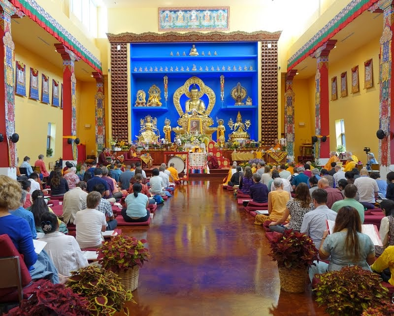 Long life puja for Geshe Sopa Rinpoche at Deer Park Buddhist Center in Oregon, Wisconsin, US, July 20, 2014. Photo by Ven. Roger Kunsang.  Lama Zopa Rinpoche and Jangtse Chöje attended along with several geshes, Sangha and lay students, both Tibetan and Western.