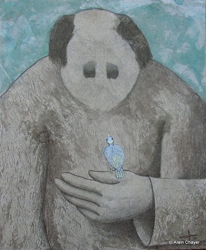 177 - Oiseau Nacré - 2007 46 x 38 - Acrylique, Sable et encre de Chine sur toile
