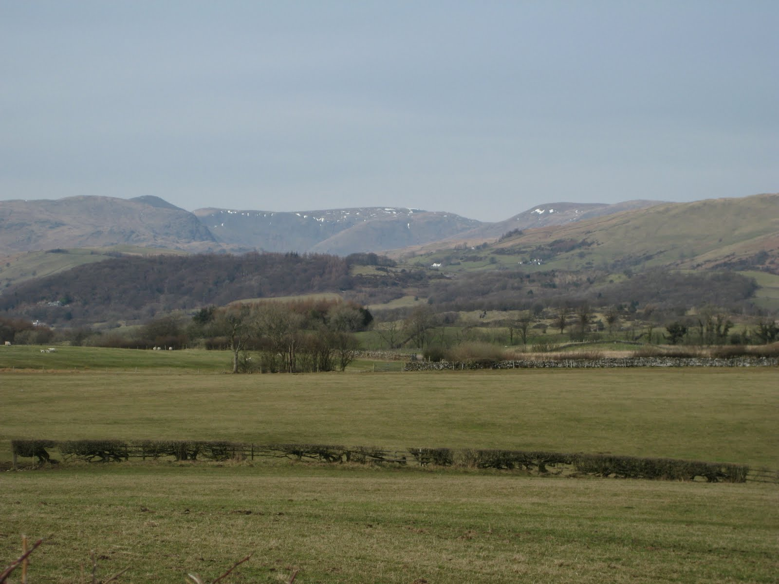 Heading towards the hills - note the snow