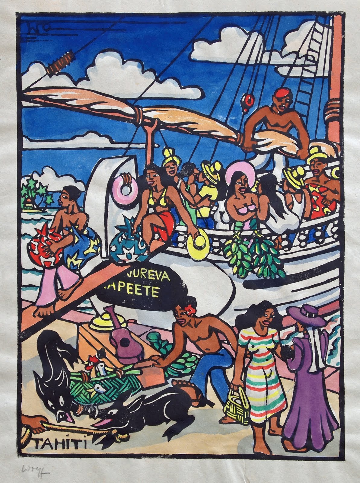 Harbor of Papeete, hand colored block print, no date, 22 x 16,5 cm, family-owned