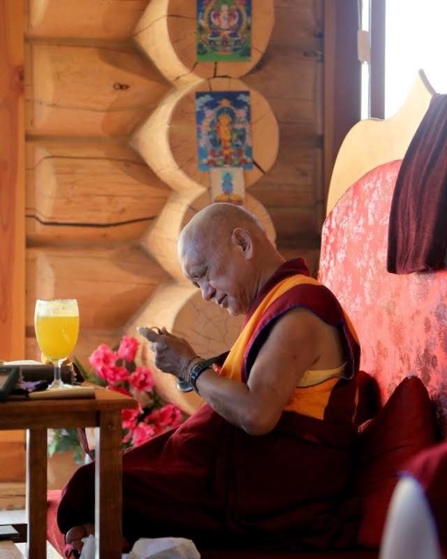 Rinpoche doing prayers, Buddha Amitabha Pure Land, Washington, US, August 2014. Photo by Ven. Thubten Kunsang.
