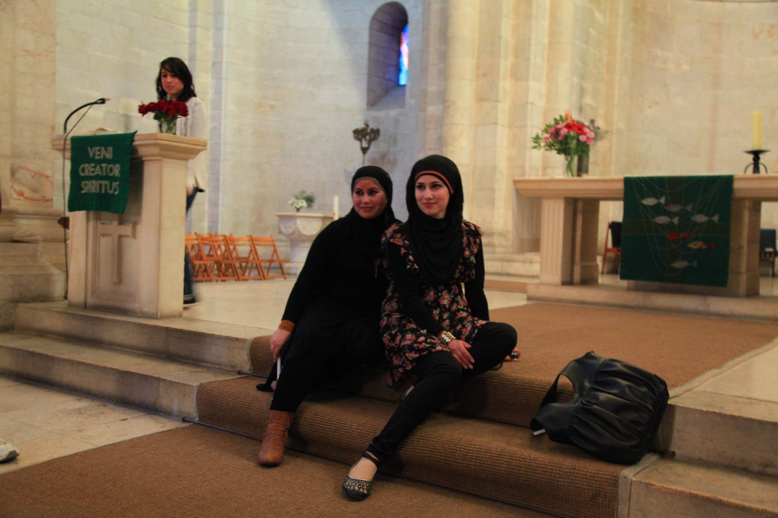 Muslim girls posing in the only Protestant Church in Jerusalem