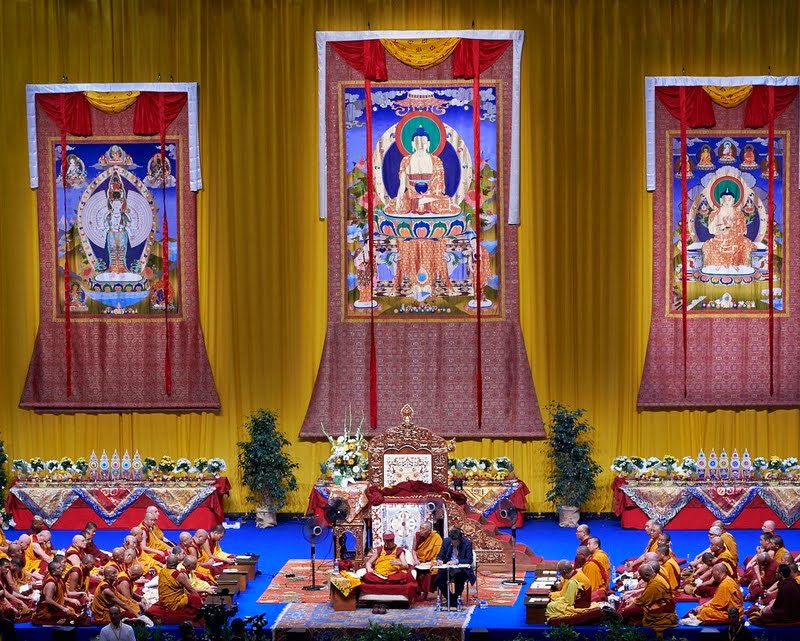 His Holiness the Dalai Lama teaching in Livorno, Italy, June 14, 2014. Photo by Olivier Adam.