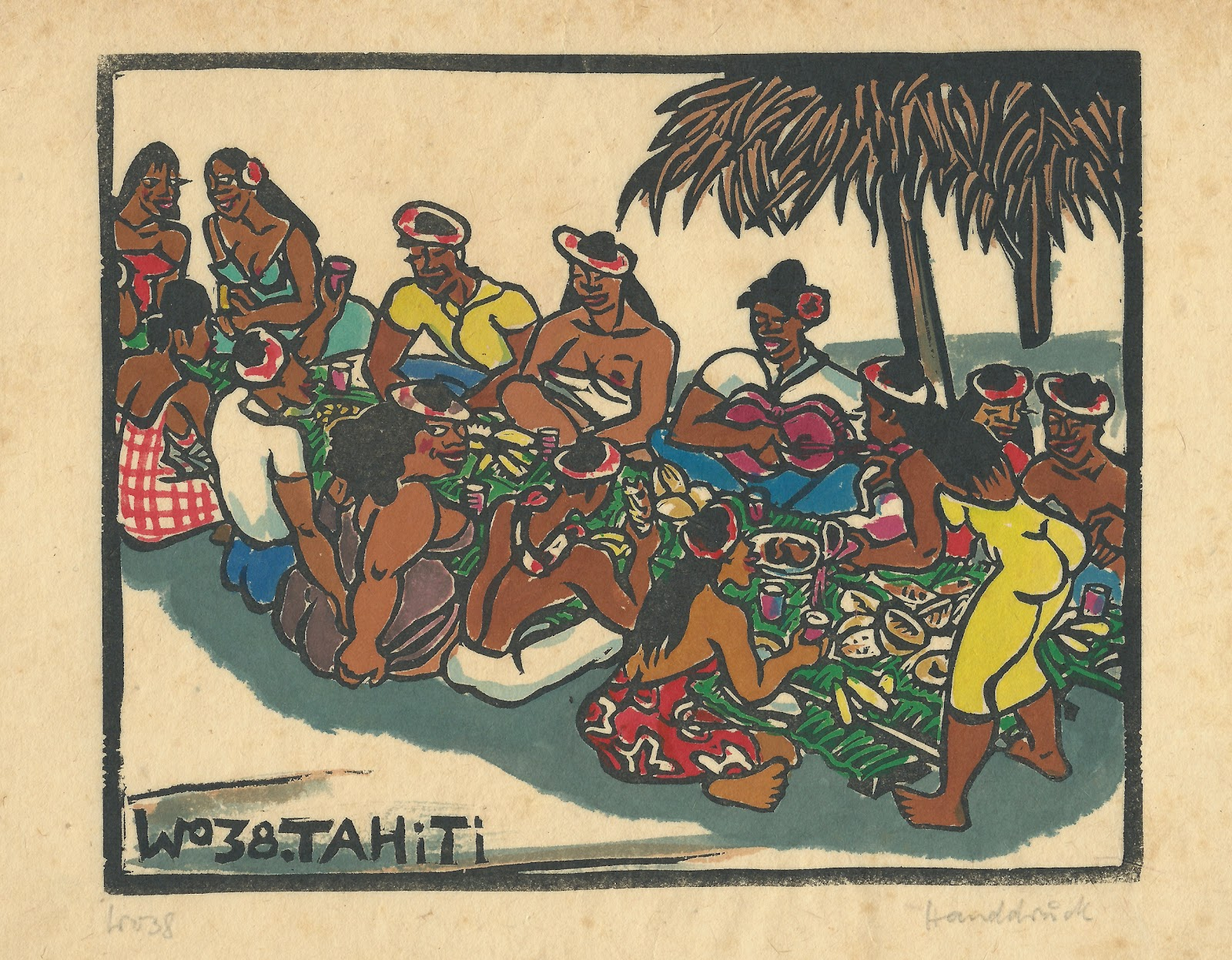 The feast, hand colored block print, 1938, family-owned