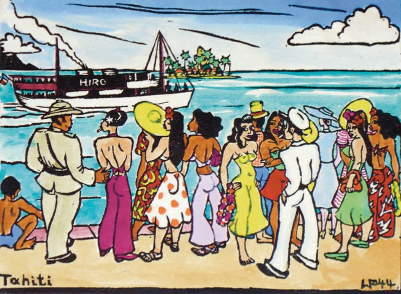 Pier view, hand colored block print, 1944