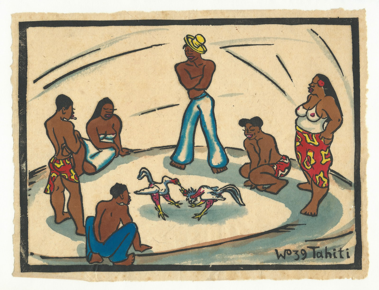 The cockfight, hand colored block print, 1939, family-owned