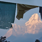 Buddhist flags in front of Ama Dablam