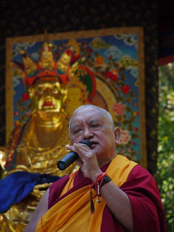 Rinpoche teaching during Ksitigharba statue at Land of Medicine Buddha