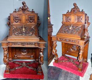 Очень красивый секретер 19-й век. Резьба, выдвижной ящик, две дверки, откидная крышка. 6500 евро.