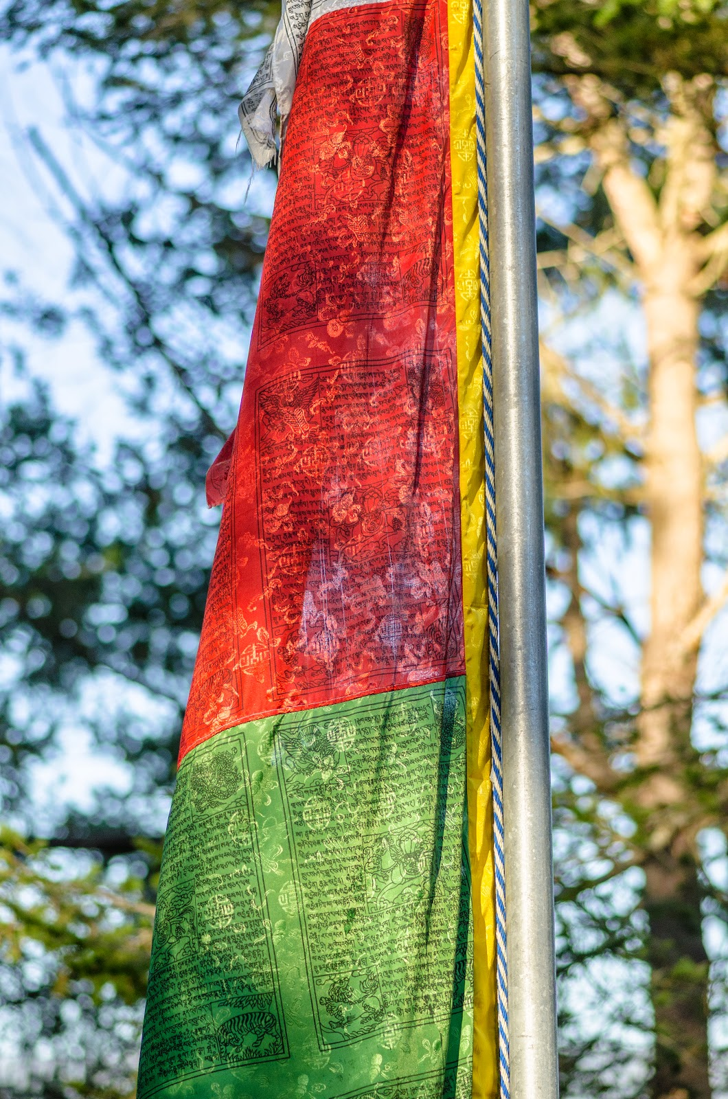 Prayer flag at Kachoe Dechen Ling. Photo by Chris Majors.