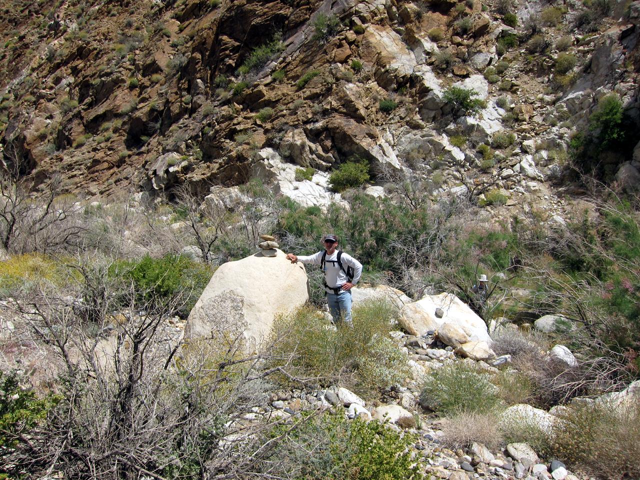 Daren sets a trail marker