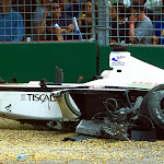 Crashed BAR 003 F1 car of Jacques Villeneuve