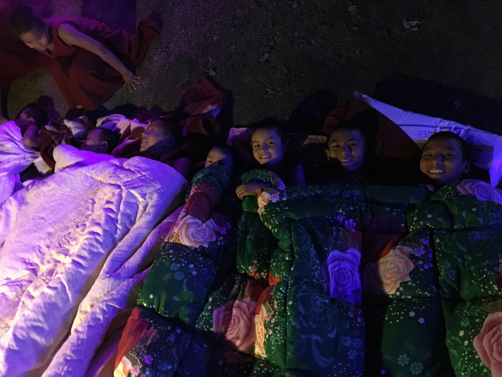 Young monks sleeping outside at Kopan Monastery, following the first earthquake.