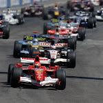 Race start Michael Schumacher leading the pack