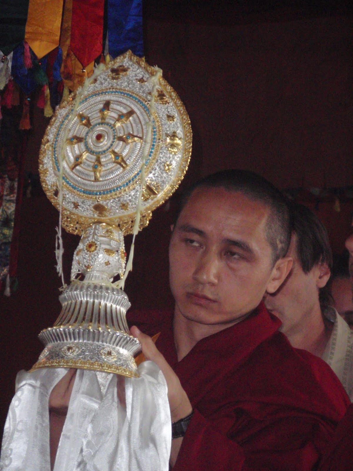 Geshe Zopa offering dharmachakra long life puja Kopan Monastery 2008.