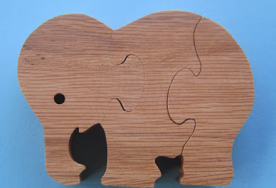 Puzzle 3 Piece Elephant 4.25 x 3.25