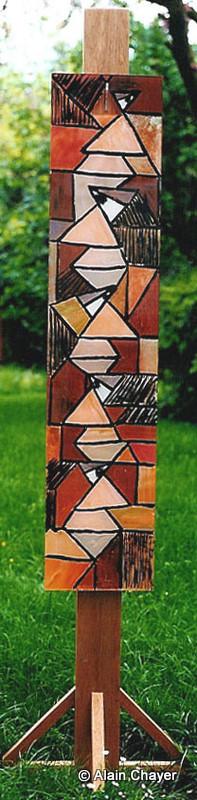 061 - Ermitage - 1994 28,5 x 130 - Acrylique résine, support bois exotique 2 m